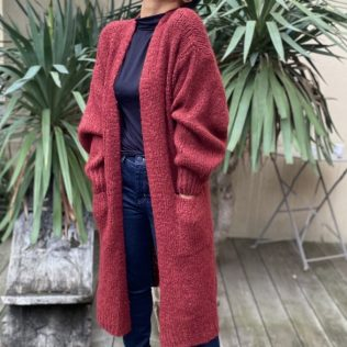 Cardigan long bordeaux
