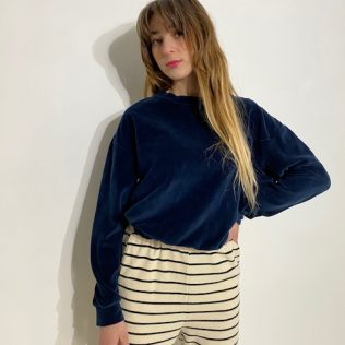 Sweat-shirt en velours bleu marine
